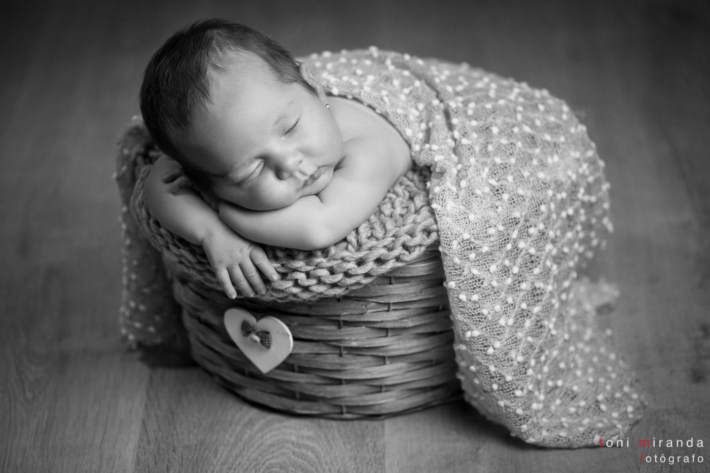 bebe en cesta recien nacida