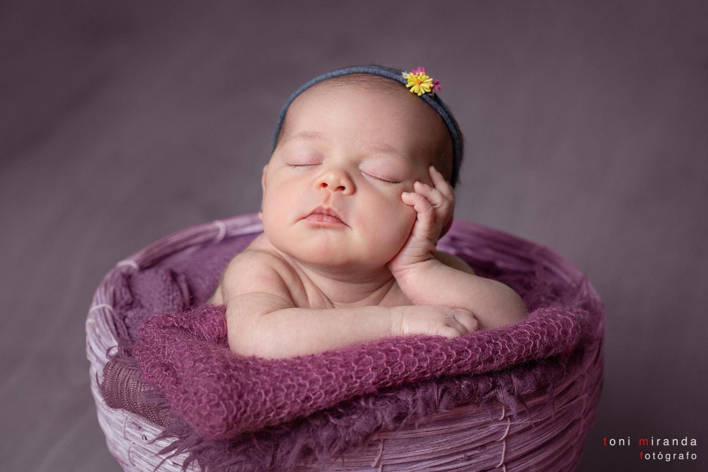 Newborn apoyada en cestita rosa