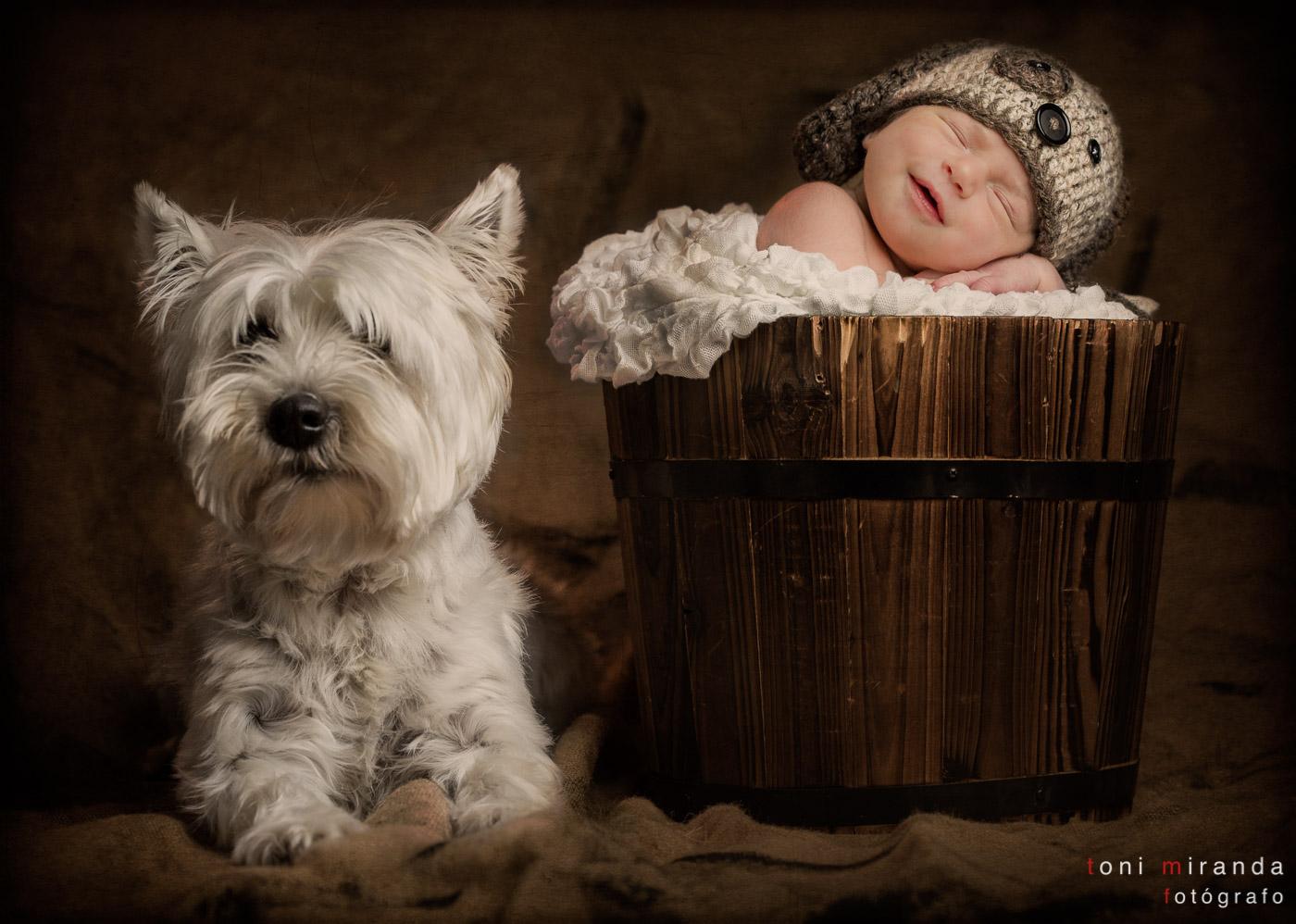 recién nacido con perrito