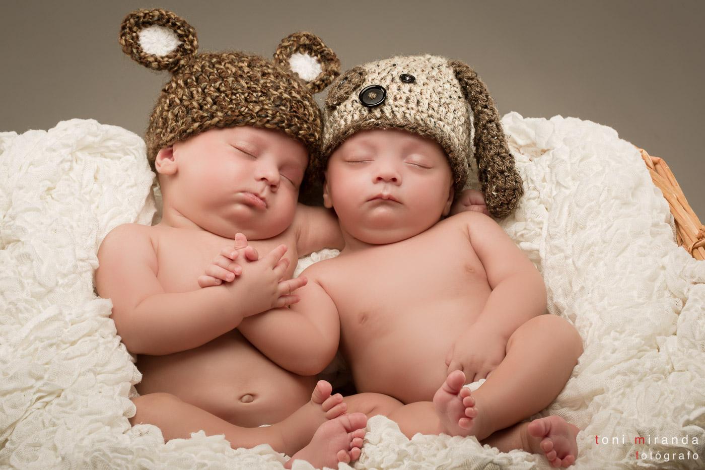 gemelos en cesta fotos estudio