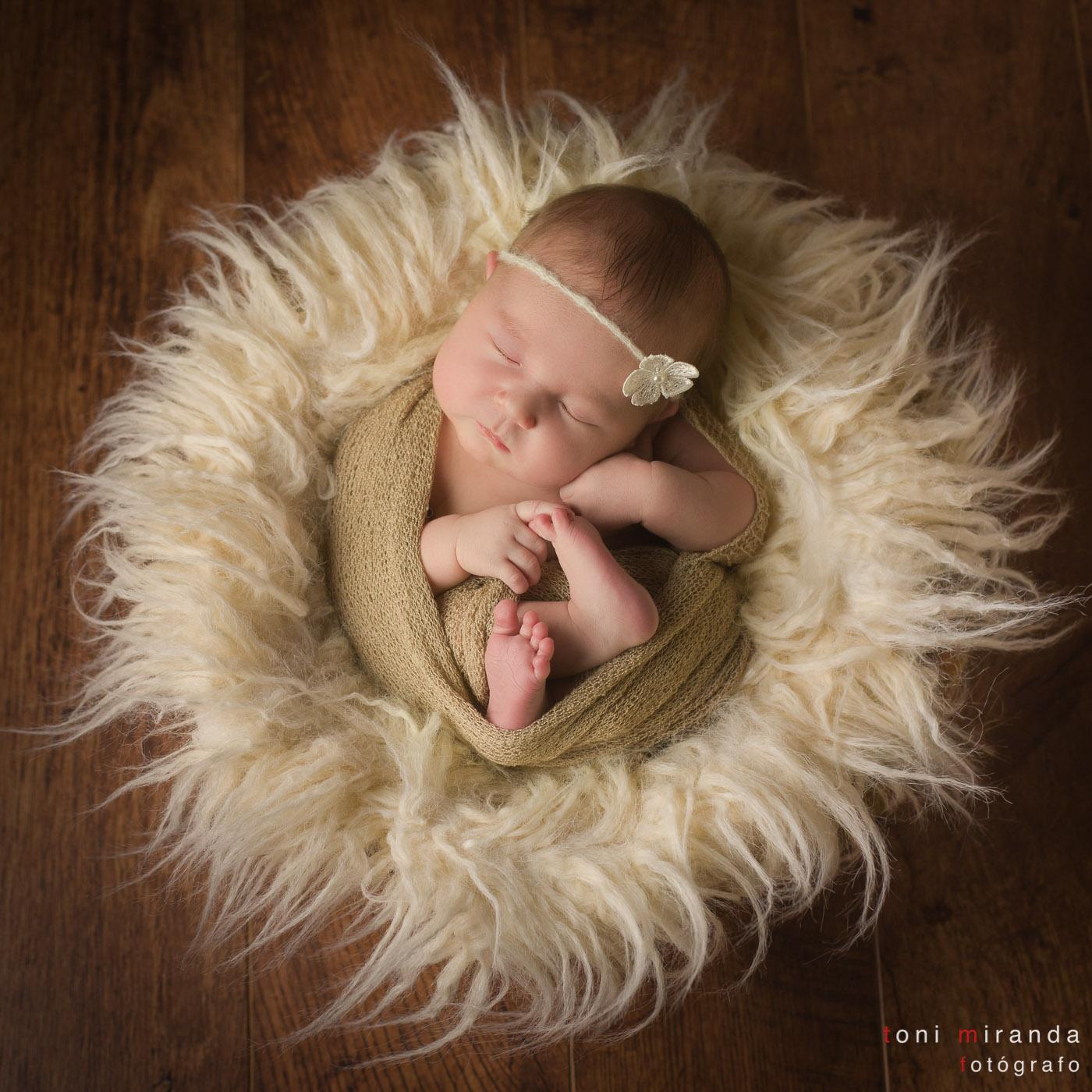bebe recien nacido sonrisa en nido en estudio alcoy